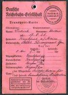 Germany Deutsche Reichsbahn Transporte-Karte Frankfurt - Bergen Am Zee - Historical Documents