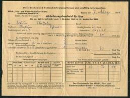 1944 DR Germany Deutsche Ablieferungsbescheid Fur Eier, Essen + Quittung X 3 - Historical Documents