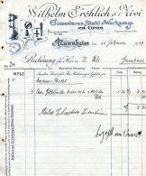 1909 Germany Mannheim Wilhelm Frohlich Eisenwaren Stahl Werkzeuge Decorative Invoice - Germany