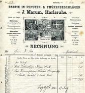 1903 Germany Marum, Karlsruhe, Fabrik In Fenster & Thurensbeschlagen Decorative Invoice - Germany