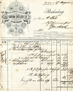1897 Germany Gustav Dittler Pforzheim Baden Decorative Invoice - 1800 – 1899