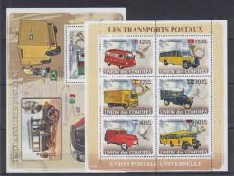 COMOROS  2008 Postal Transport, Retro-cars  Sheetlet+SS  Perf. - Auto's