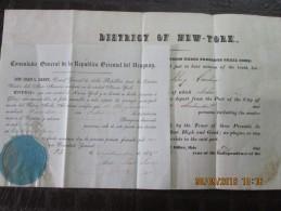 UNITED STATES - District Of NEW YORK - 1847 BILL OF HEALTH For Ship CAROLINA + URUGUAY Consul Certification - Documentos Históricos