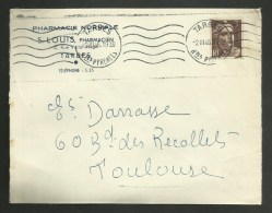 """Enveloppe Entete """" Pharmacie Normale S. LOUIS """" à TARBES - HAUTES PYRENEES / 1946 - Postmark Collection (Covers)"""