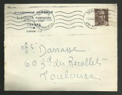 """Enveloppe Entete """" Pharmacie Normale S. LOUIS """" à TARBES - HAUTES PYRENEES / 1946 - Marcofilie (Brieven)"""