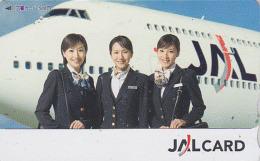 Carte Prépayée Japon - Airlines JAL Hôtesse De L'air - Japan Prepaid Tosho Card / Femme Girl Avion Aviation - 2024 - Aviones