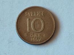 SUEDE 10 ORE 1957 ARGENT SILVER - Suède