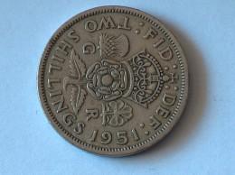 UK 2 Shillings 1951 - 1902-1971 : Monnaies Post-Victoriennes