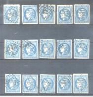 CERES EMISSION DITE DE BORDEAUX AN 1871 - YVERT NR. 46 B RECONSTRUCTION DE SA PLANCHE LES 15 TYPES AVEC CERTIFICATIONS D - 1871-1875 Ceres