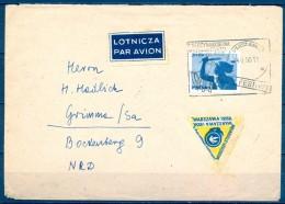 POLONIA 1955 , VARSOVIA , SOBRE CONMEMORATIVO FESTIVAL INTERNACIONAL DE FILATELIA - 1944-.... République
