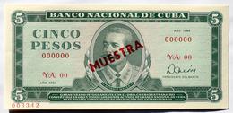 MUESTRA (SPECIMEN) 1984, Billete De CINCO PESOS, UNC. Ultimas Emisiones De Este Diseño - Cuba