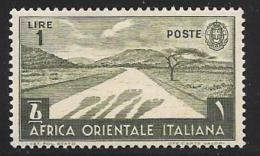Italian Eastern Africa, Scott # 12 Mint Hinged Desert Road, 1938 - Italian Eastern Africa