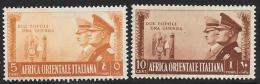 Italian Eastern Africa, Scott # 34-5 Mint Hinged Hitler And Mussolini, 1941 - Italian Eastern Africa