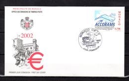 "MONACO 2002 : Enveloppe 1er Jour "" ACCOBAMS "" N° YT 2342. Parfait état. FDC - FDC"