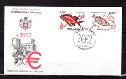 """(Faciale = 10.20 €) MONACO 2002 : Enveloppe 1er Jour """" POISSONS """" N° YT 2329 2330. Parfait état. FDC - FDC"""