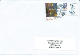Spain Letter Via Macedonia 2016.nice Stamps - 2011-... Lettres