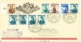 Austria Special Cancelled Cover With A Lot Of Stamps Sent To Denmark 23-5-1953 - Expositions Philatéliques