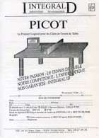 FRANCE - BON COMMANDE Logiciel Gestion PICOT - INTEGRAL ID 1993/1994 - Tennis Table Tischtennis Tavolo - Tischtennis