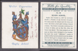 Wills Cigarettes: Rugby School, Signed By James Woodhouse, Headmaster 1967 - 81 - Other