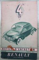 Notice D´entretien RENAULT 4 CV 1956 - KFZ