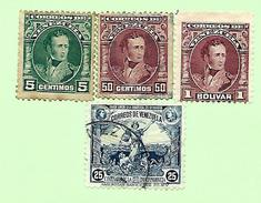 1740 ~  VENEZUELA  N°  110 + 113 + 114 + 124   Oblitérés - Venezuela