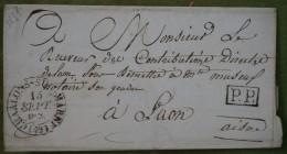 Enveloppe Avec Cad De Chalons-sur-Marne Du 15 Septembre 1831, Pour Laon, En Port Payé. - Postmark Collection (Covers)