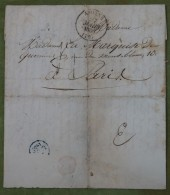 Enveloppe Avec Cachet D'Amiens De 1836 Pour Paris, Cad Bleu - 1801-1848: Précurseurs XIX