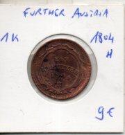 Further Austria. 1 Kreuzer. 1804 H - Monedas Pequeñas & Otras Subdivisiones