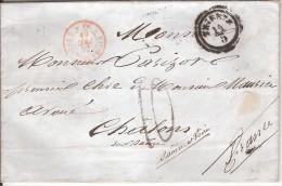TRIESTE Pour CHALON SUR SAONE_1852_taxe 10 Au Tampon_cachet D'entrée - Trieste