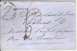 FLORENCE ( FIRENZE ) Pour CHALON SUR SAONE _ 1857_taxe 6 Manuscrite_cachet Entrée TOSCANE ANTIBES - Toscana