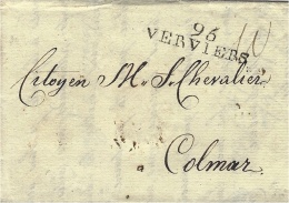 An 8-  Territoires Conquis - Lettre De 96 / VERVIERS ( L´Ourthe ) 37 Mm Noir   Pour   Colmar - Marcophilie (Lettres)