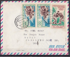 CONGO, BRAZZAVILLE, 1969, Airmail Cover From Brazzaville With 3 1968 Olympic Games Stamps, Posted To Jabalpur , India - Kongo - Brazzaville