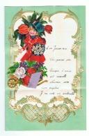 Lettre De Voeux Avec Découpis 1940 - Fleurs, Enfant Brouette,.. (b192) - Children