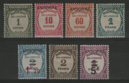 ANDORRE Français:  Taxe N°9/15 *    - Cote 625€ -