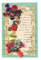 Lettre De Voeux Avec Découpis 1939 - Fleurs, Enfant Panier,.. (b192) - Children