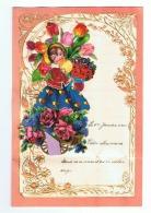 Lettre De Voeux Avec Découpis 1940- Fleurs, Enfant Chariot,.. (b192) - Children