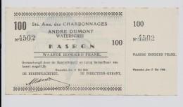 Charbonnages Andre Dumont Waterschei KASBON 100 Frank 17 Mei 1940 - Mines