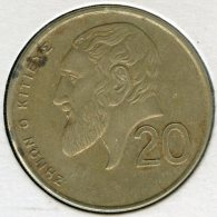 Chypre Cyprus 20 Cents 1992 KM 62.2 - Chypre