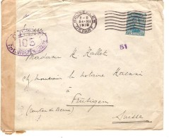 TP 141 S/L.c.méc.Bruxelles Chiffre Inversé 51 ALD 15 /12/1918 V.Frütigen Suisse Censure & C.d´arrivée PR3545 - Postmark Collection