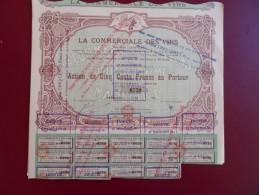 ACTION DE 500 FRS LA COMMERCIALE DES VINS  TOP ART  DECO MARSEILLE 1923 - Agriculture