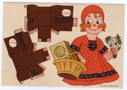"""CARTE PUBLICITAIRE """"SAT""""Margarine Végétale (1950). Carte à Découper Pour Jeune Fille. Dim. 11,6 X 16,6 Cm - Publicité"""