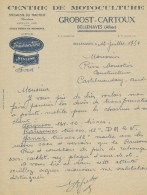 FACTURE PUBLICITAIRE ILLUSTREE DOCUMENT COMMERCIAL BELLENAVES : GROBOST CARTOUX Motoculture Tracteur Fordson Ford - 1950 - ...