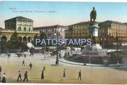 58381 ITALY NAPOLI CAMPANIA SQUARE OF STATION TRAIN & MONUMENT A GARIBALDI TRAMWAY TRAM POSTAL POSTCARD - Italia