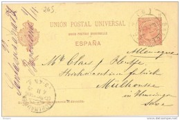 19506. Entero Postal BARCELONA 1895. Variedad, Cartulina Amarilla, Num 31A º