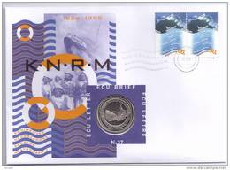 Netherlands 1999 Mi. 1716 FDC With ECU Coin, Country Of Water, Sea Rescue Cruiser - Ships