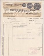 Facture Ancienne - LE MANS Sarthe -   BOUTONNERIES DE L'OUEST - Boutons- Boucles -agrafes - TITALIA (marque Déposée) - Textile & Clothing