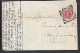 """GR- BRETAGNE - Timbre 1/2 P Victoria Sur Document Vers Paris - """" James Stuart's Daily Chartering List """" - - Royaume-Uni"""