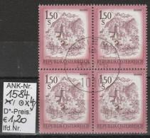 """23.10.1974 - FM/DM """"Schönes Österreich S 1,50 Purpurrot"""" - 4 X O Gestempelt - Siehe Scan (1584o X4) - 1971-80 Usados"""