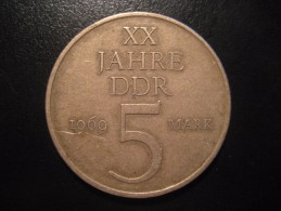 KM#22.1 Nickel Bronze 5 Mark 1969 20th Anniversary D.D.R. East Germany DDR - [ 6] 1949-1990 : RDA - Rép. Démo. Allemande