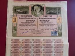 SOCIETE ATHENIENNE D´AUTOMOBILES ATHENA  COUPURE DE 1 ACTION 1920 TOP DECO - Automobile